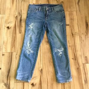 WHBM The Straight Distressed Cropped Jeans, Sz 4